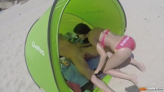 Hot Spanish unspecified respecting bikini Julia de Lucia gives a blowjob on the beach and gets her anus holed